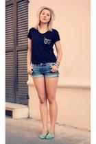 black nowIStyle t-shirt - white meli melo hat - blue H&M shorts