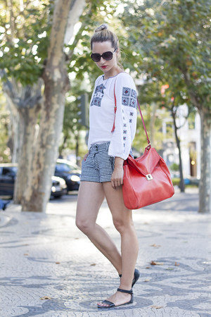 black houndstooth Nextrose shorts - red Zara bag - black H&M sunglasses