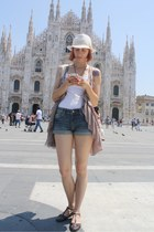 denim H&M shorts - thirfted top - H&M vest - thrifted sandals
