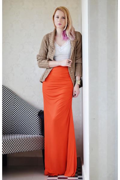 carrot orange Mango skirt - ivory slip vintage intimate