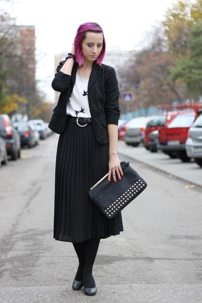 black Pimkie blazer - white bird print H&M shirt