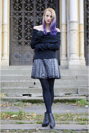 black Daniel Ignat skirt - black H&M boots - black thrifted sweater