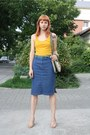 Green-thrifted-belt-mustard-stradivarius-top-blue-thrifted-skirt