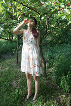 white thrifted dress - black random shoes - green handmade earrings