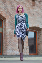 magenta H&M boots - black H&M dress - black Fiore tights - teal Bershka cardigan