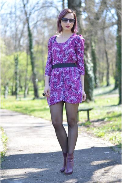 magenta H&M boots - amethyst leopard Tiramisu alle fragole dress