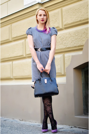 black H&M tights - heather gray houndstooth Dunnes dress - black nowIStyle bag