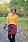 Yellow-h-m-sweater-red-jeffrey-campbell-boots-black-stradivarius-bag
