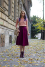 Magenta-h-m-boots-peach-thrifted-sweater-magenta-asos-skirt