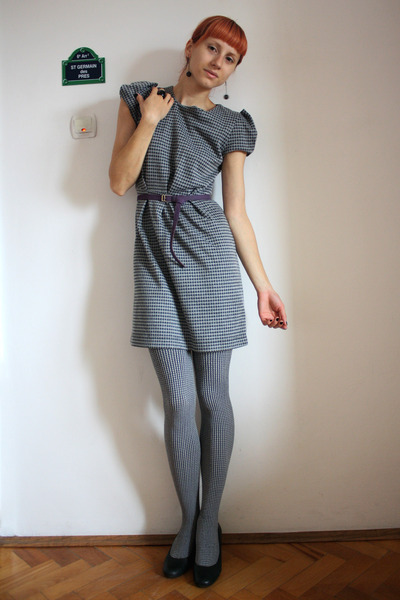 black Dunnes dress - black meli melo tights - dark gray DGM shoes - deep purple