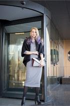 black H&M boots - heather gray H&M dress - black nowIStyle coat