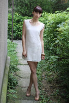 white Bershka dress - beige bb up shoes - beige from my mom bracelet - beige thr