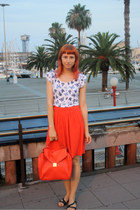 red Zara bag - white Amisu t-shirt - red H&M skirt - black random sandals