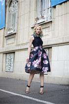 navy Sheinside skirt - navy Orsay top - black Zara sandals