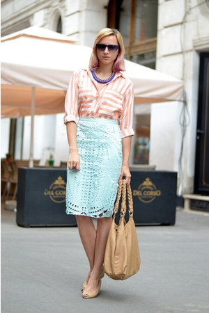aquamarine perforated H&M skirt - nude bb up shoes
