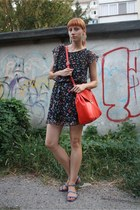 black Topshop dress - red Zara bag - blue Zara sandals