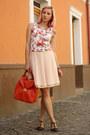 Red-zara-bag-dark-brown-thrifted-sandals-nude-thirfted-skirt