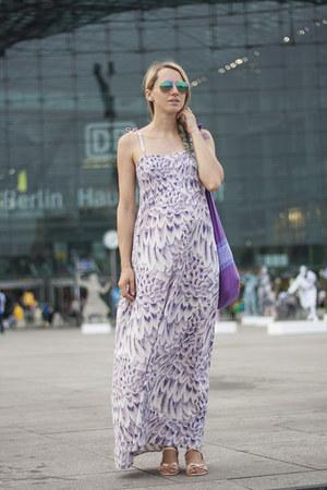 purple thrifted dress - aquamarine H&M sunglasses