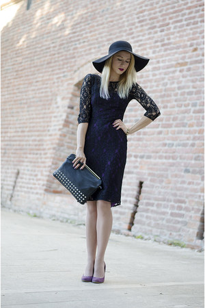 black lace French Connection dress - black floppy H&M hat