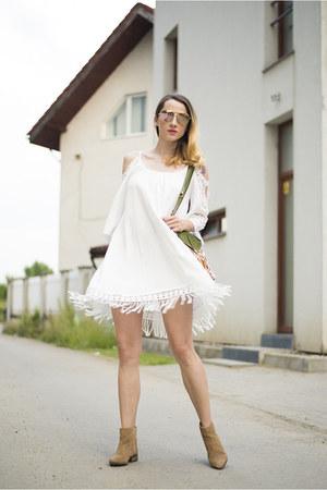 white boho shein dress