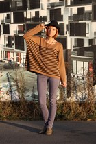 tan H&M sweater - olive green H&M shoes - light purple Vero Moda jeans