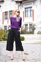purple H&M sweater - black culottes H&M pants - purple Filty pumps