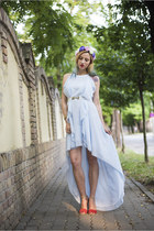 sky blue Sheinside dress - red Mango dress - blue H&M Trend hair accessory