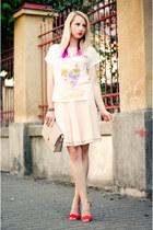 white skull BAD Style skirt - peach thrifted skirt - red Mango sandals
