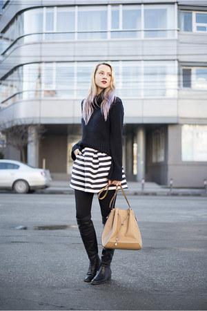 black thrifted sweater - camel Mango bag - black stripes H&M skirt