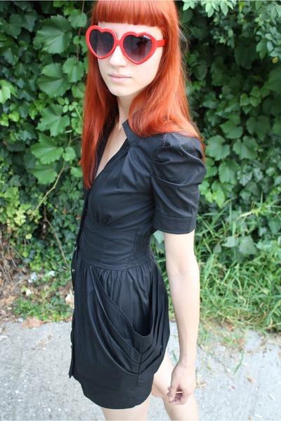 black Tally Weijl dress - red festival glasses - black random shoes
