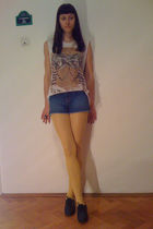 white Zara t-shirt - blue abercrombie and fitch shorts - yellow Fiore tights - b