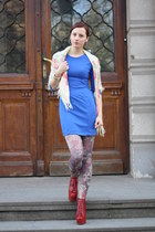 blue H&M dress - ruby red Jeffrey Campbell boots