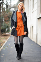black random boots - carrot orange wool thrifted dress - black nowIStyle jacket