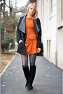 Black-random-boots-carrot-orange-wool-thrifted-dress-black-nowistyle-jacket