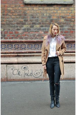 black cut out Stradivarius boots - camel Topshop coat