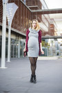 Heather-gray-hln-dress-maroon-zara-cardigan