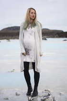 white thrifted dress - heather gray new look sweater