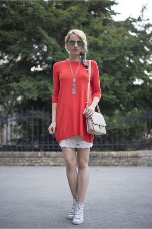 white Converse shoes - carrot orange Atmosphere dress
