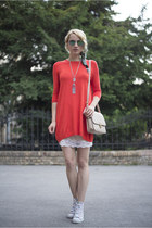 white Converse shoes - carrot orange Atmosphere dress