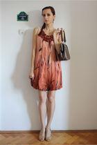 orange Stella McCartney dress - beige bb up shoes - brown vintage purse