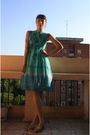 Green-vintage-dress-gray-stradivarius-shoes