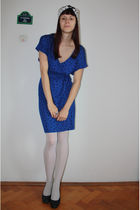 blue Mango dress - white Calzedonia tights - gray dhm shoes - white thirfted sca
