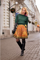black over the knee Filty boots - green thrifted sweater - yellow vintage skirt