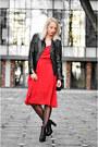 Black-h-m-boots-red-vintage-dress-black-leather-pull-bear-jacket