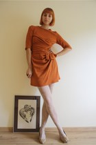 nude bb up shoes - burnt orange No label dress - white lace H&M tights