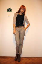 tan Promod cardigan - navy Orsay shirt - beige Stradivarius pants - dark brown a