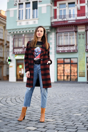 brown Woman Fashion coat - tawny BonPrix boots - blue H&M jeans