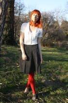 olive green H&M shoes - white thrifted shirt - red random brand tights - black t
