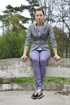 gray XOXO blazer - blue Tom Tailor shirt - purple Vero Moda pants - black Conver