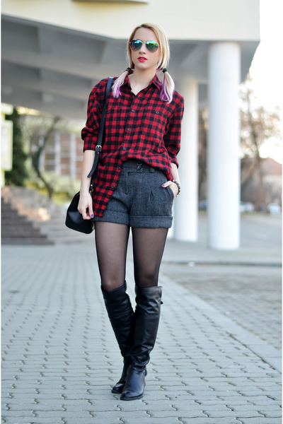 gray wool random shorts - black Filty boots - red Uniqlo shirt